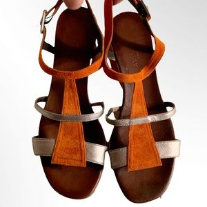 AUDLEY LONDON LEATHER SANDALS WEDGES 38 = US 7.5